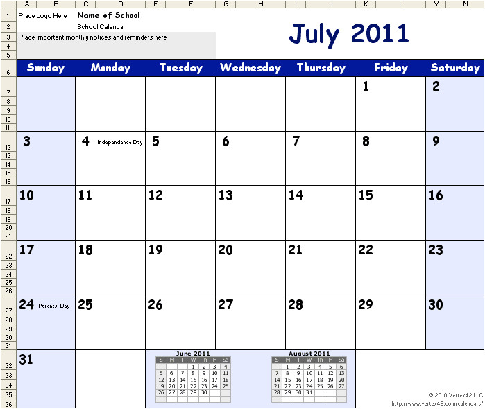 2014 calendar template for word 2007