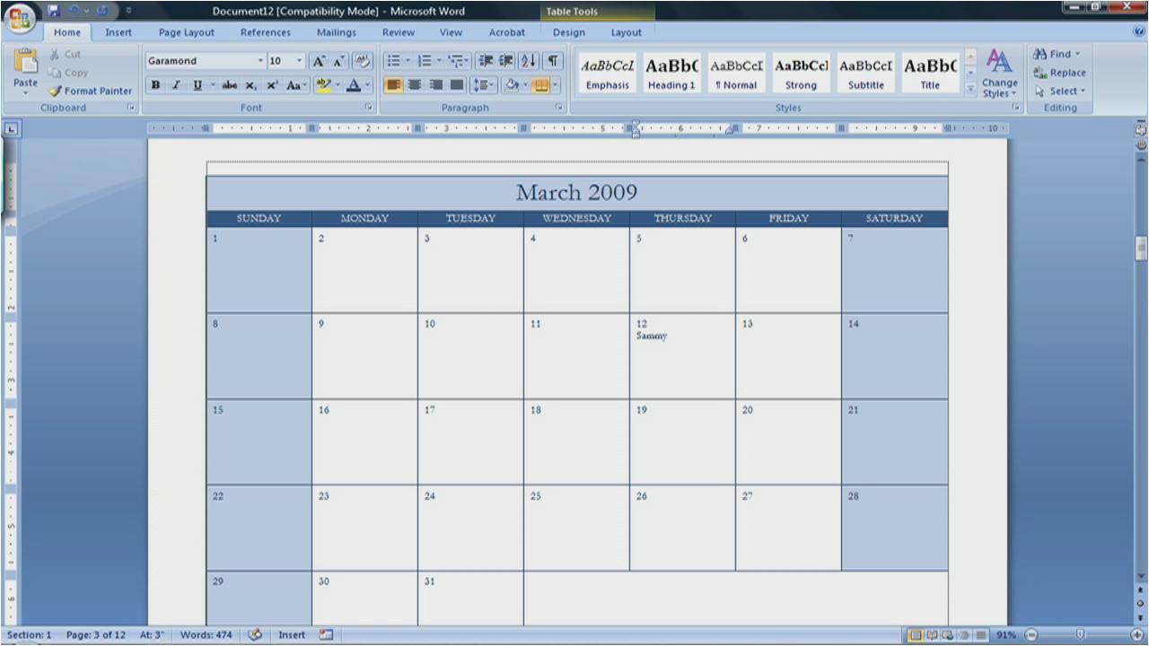Calendar Template for Word 2007 Best Photos Of Create A Blank Calendar Free Printable