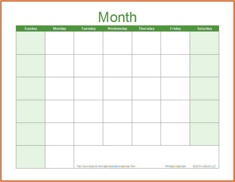Calendar Template for Word 2007 Word Calendar Sample