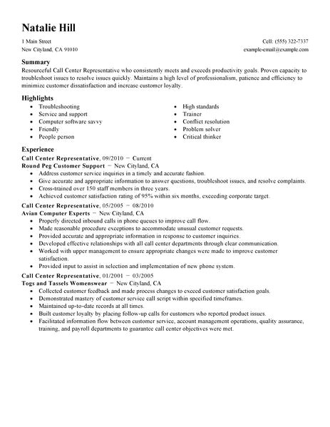 Call Center Resume Examples and Samples Simple Call Center Representative Resume Example Livecareer