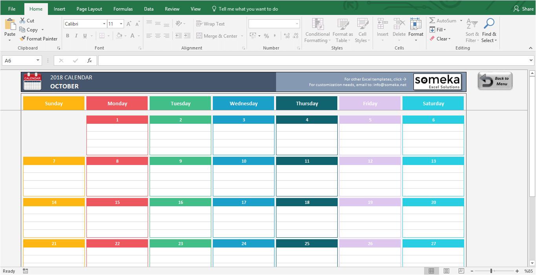 simple calendar template 2016 2018