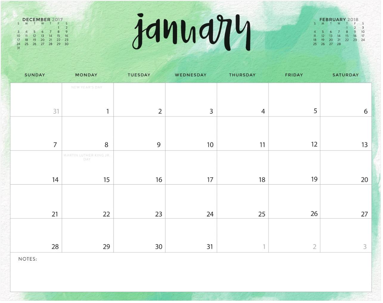 january 2018 calendar excel template