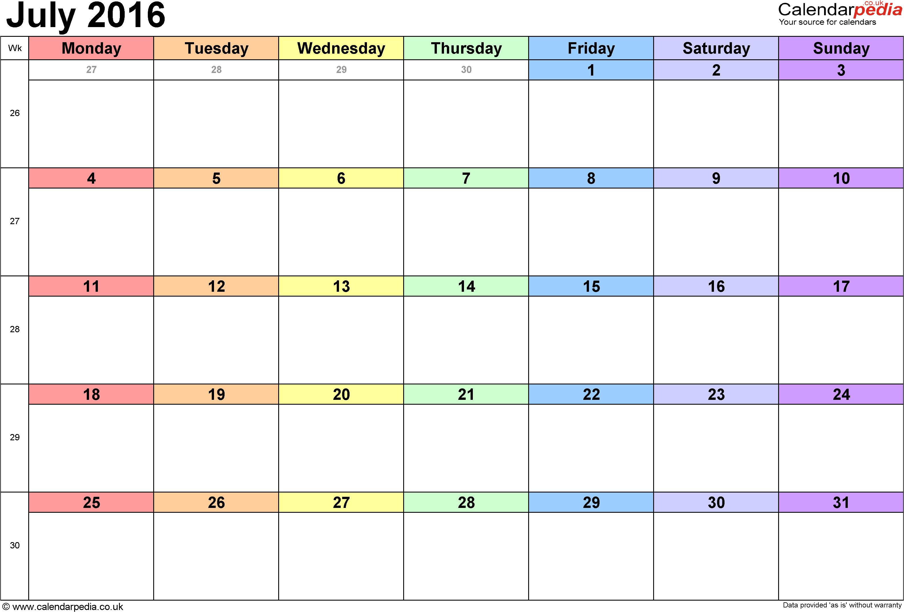 july 2016 printable calendar
