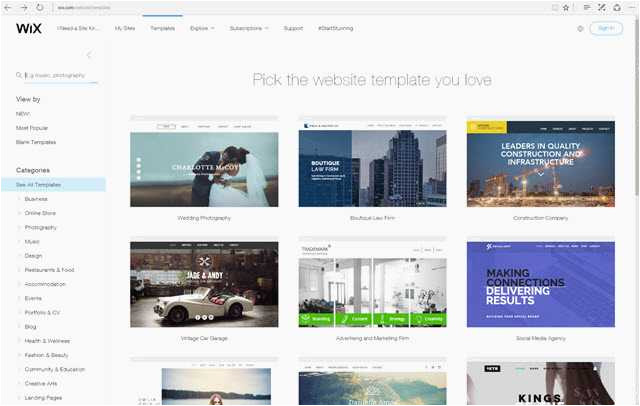 wix change template