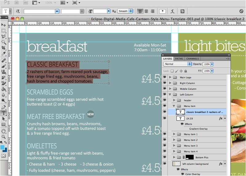 cafe canteen style menu board psd template