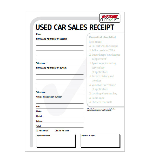 car sale receipt template