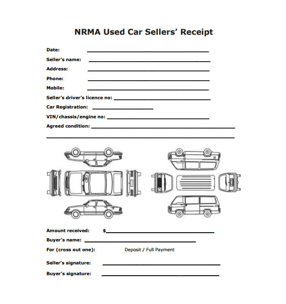 sales receipt template sample