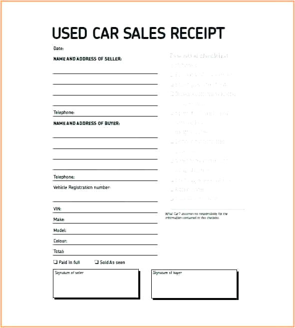 vehicle purchase receipt template printable receipt forms free documents in word selling vehicle receipt template