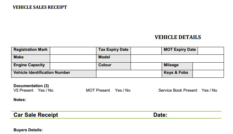 Car Receipt Template Car Sales Invoice Template Uk Invoice Example