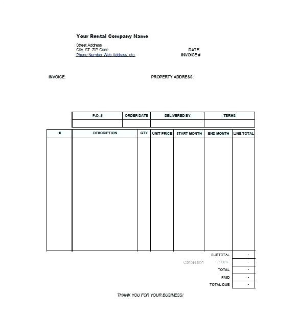 car rental invoice