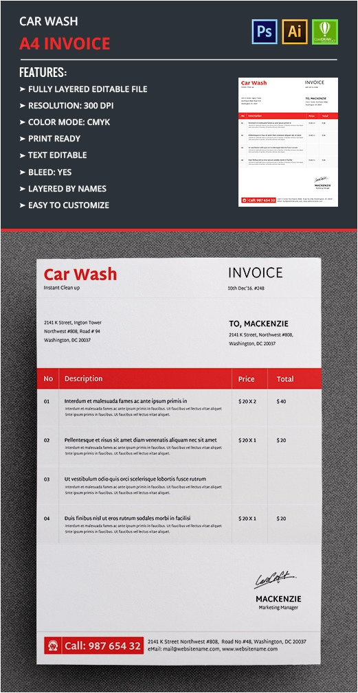 car wash invoice template