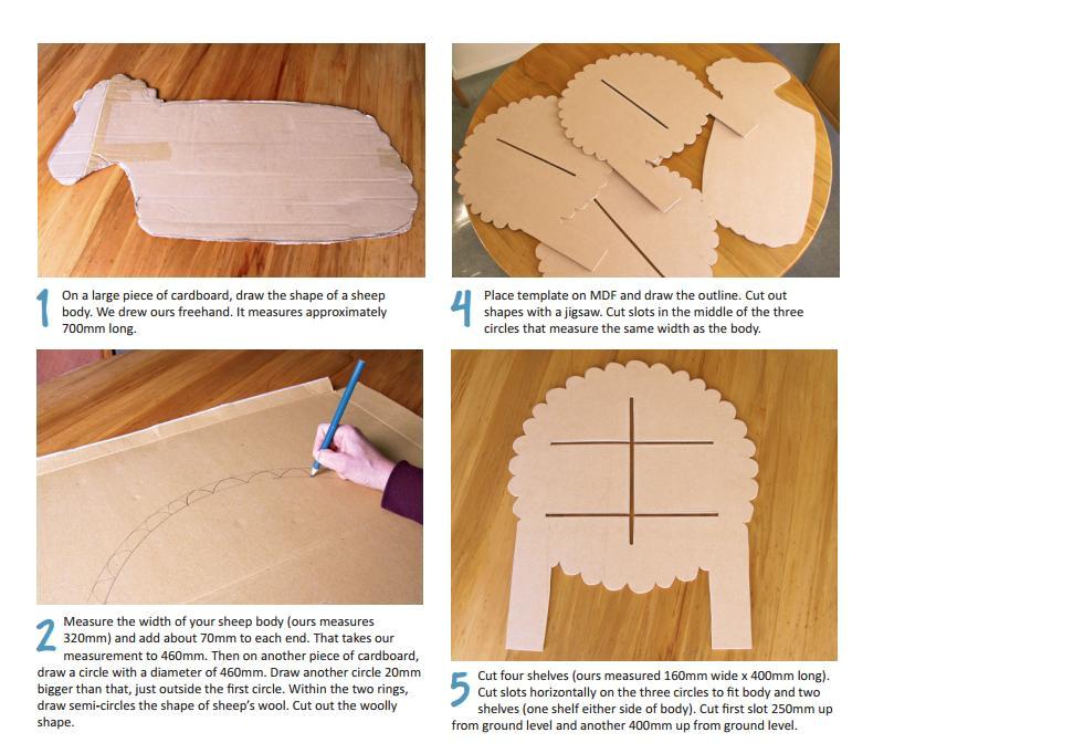 how to make cardboard shelving sheep