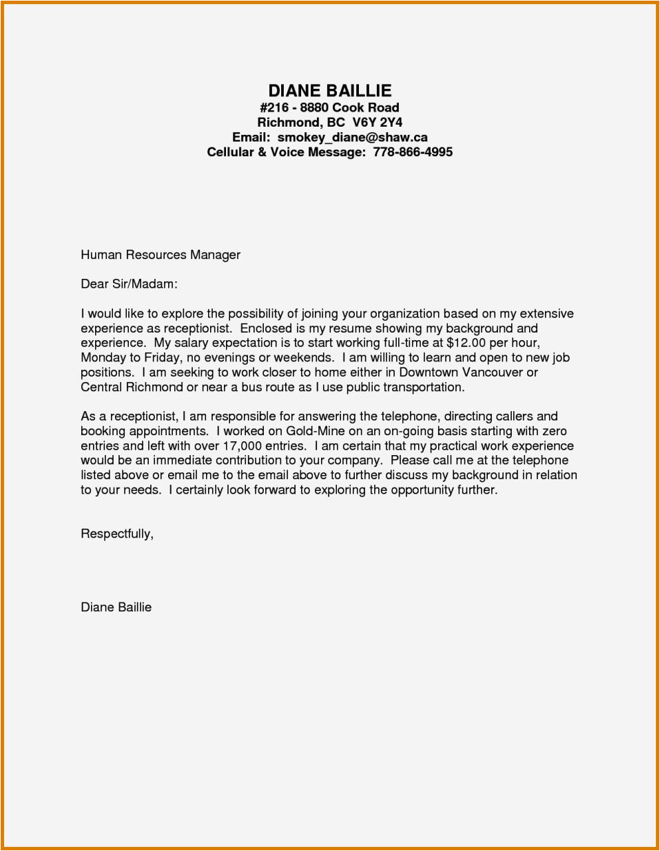 cover letter no experience healthcare