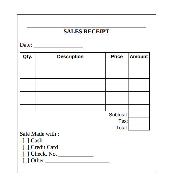 sample cash sale receipts