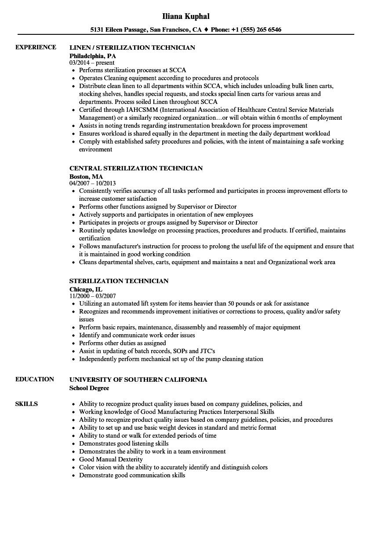 central service technician resume sample