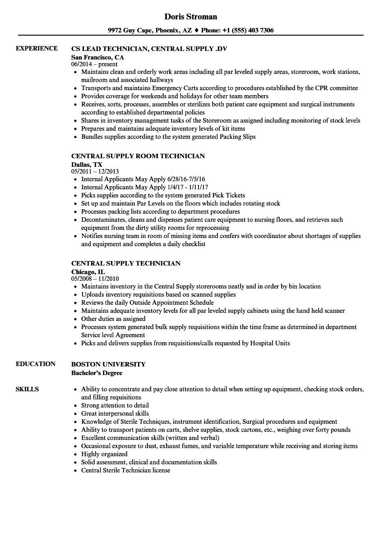 central supply technician resume sample