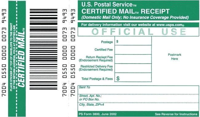 certified mail receipt