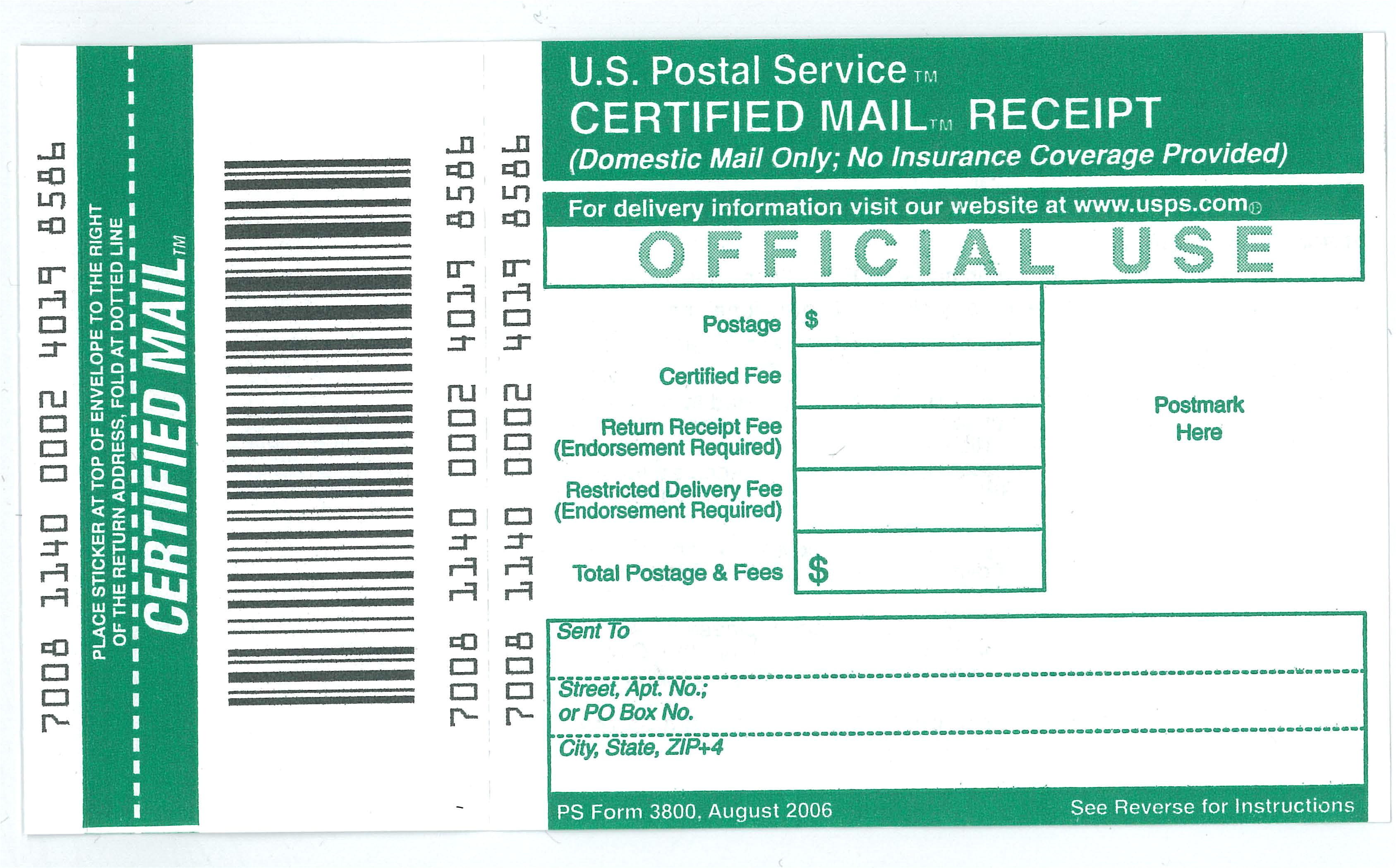 Certified Mail Receipt Template Ucr Mail Services Receipt for Certified Mail Ps form 3800