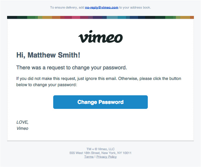 password reset vimeo