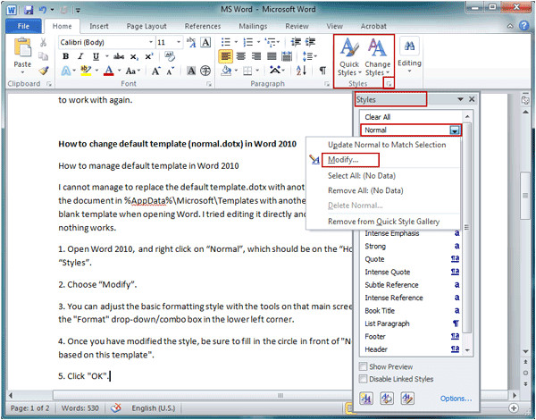 how to change default template in word 2007 2010
