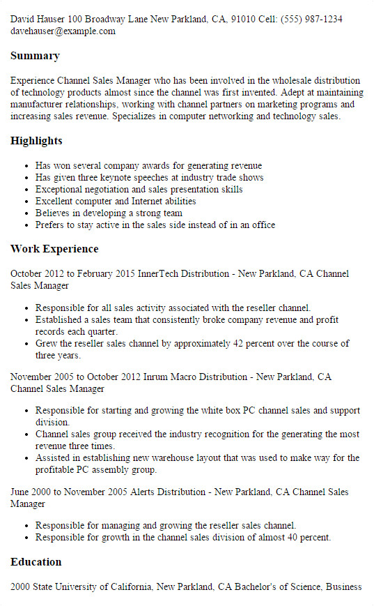 Channel Sales Manager Resume Sample Professional Channel Sales Manager Templates to Showcase