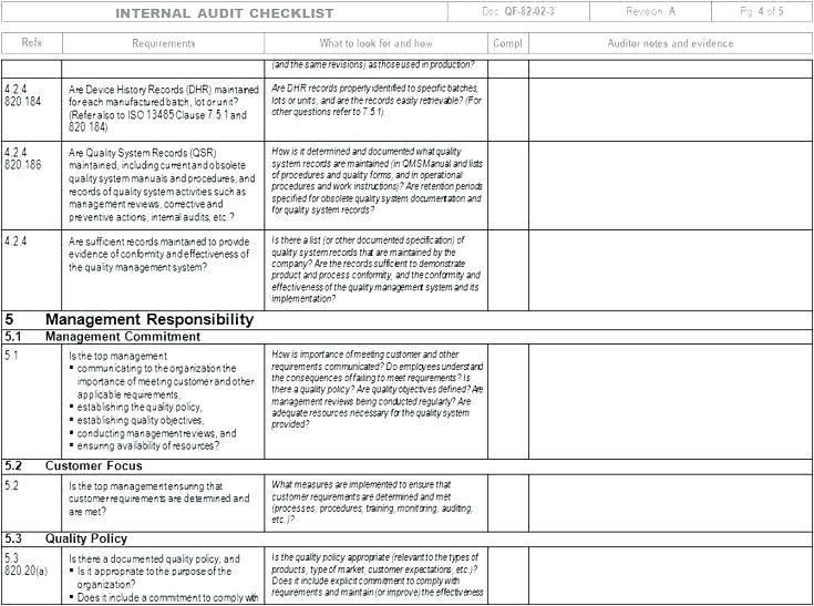 iso 9001 audit checklist excel xls internal audit checklist