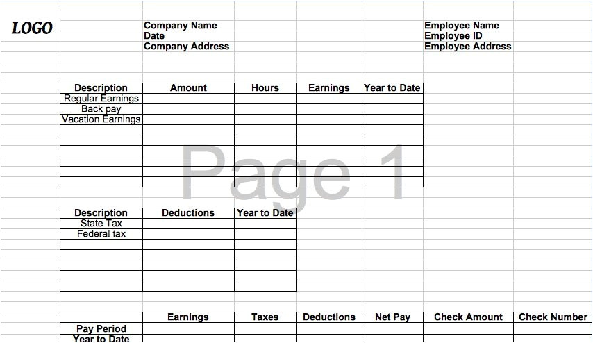 Checkstub Template 25 Great Pay Stub Paycheck Stub Templates