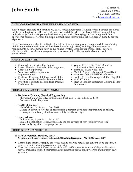 chemical engineer resume sample