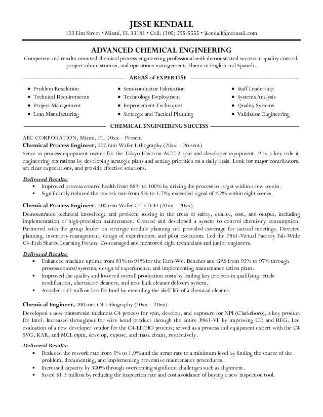 Chemical Engineering Internship Resume Samples Resume Samples for Chemical Engineers Chemical Engineer
