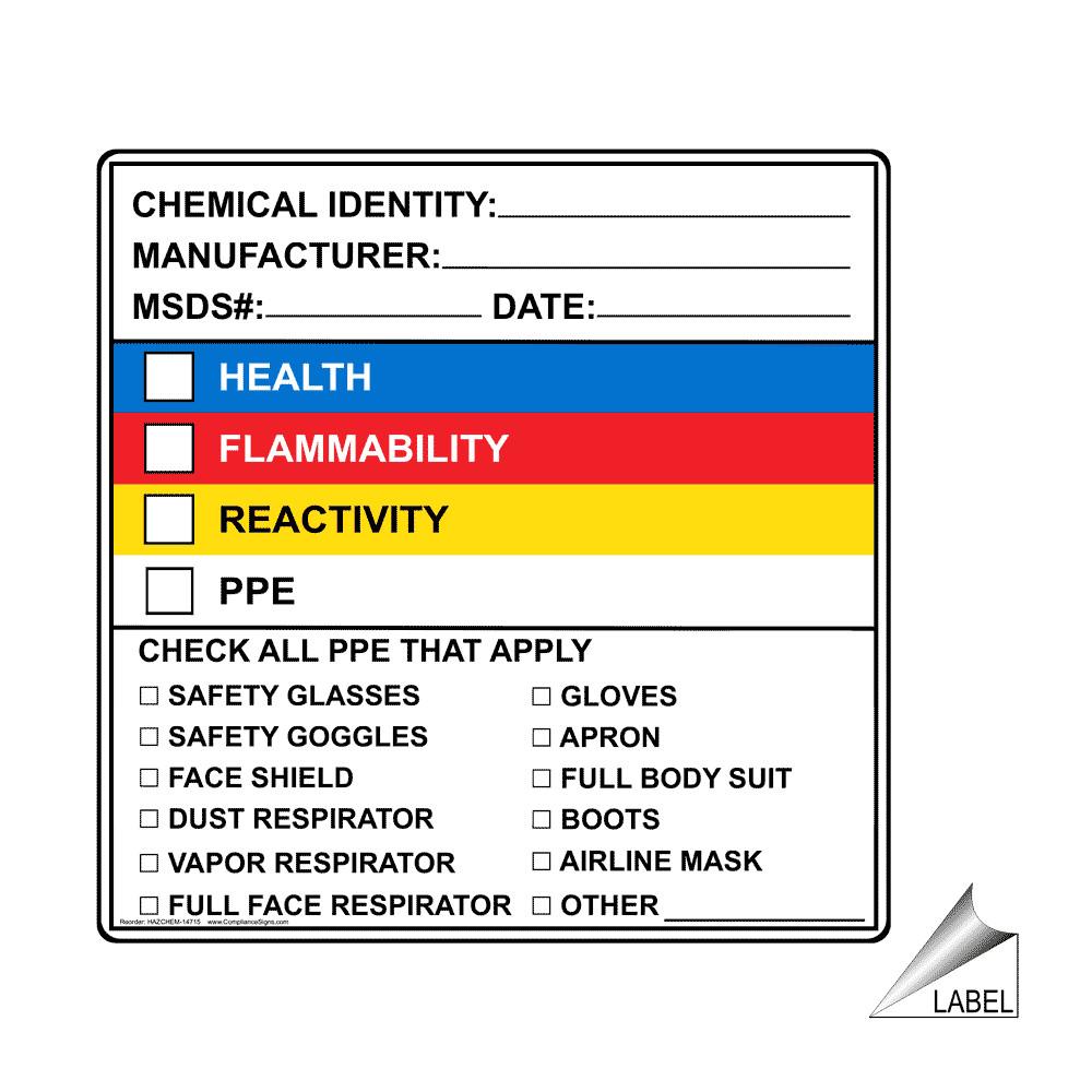 msds label shtml