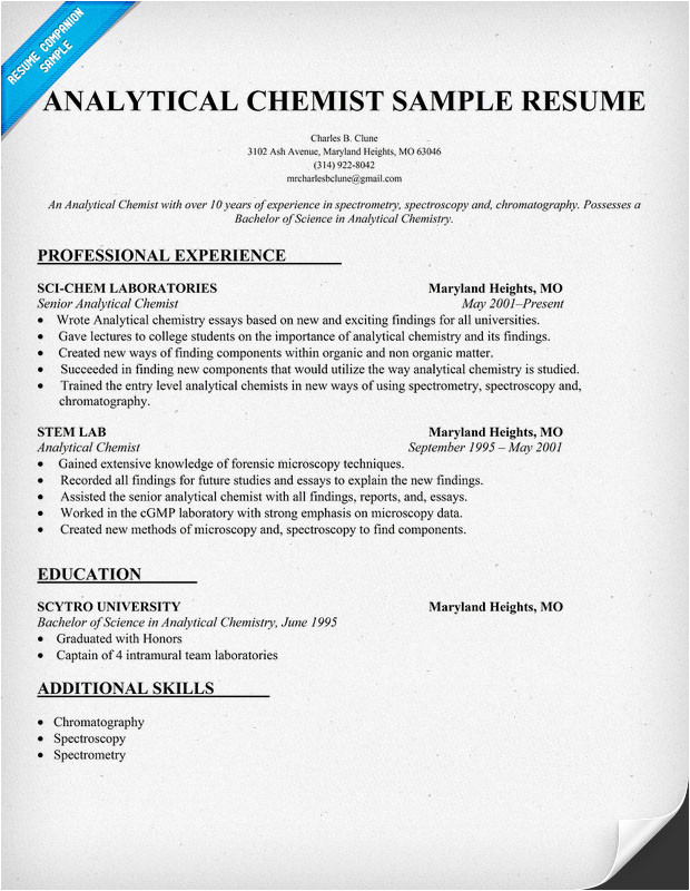 Chemist Cv Template Analytical Chemist Cv Examples Please Help