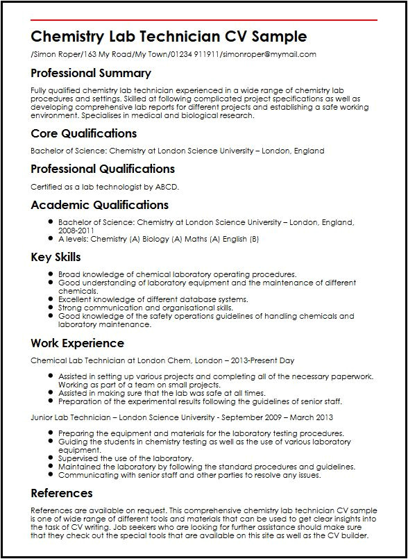 chemistry lab technician cv sample