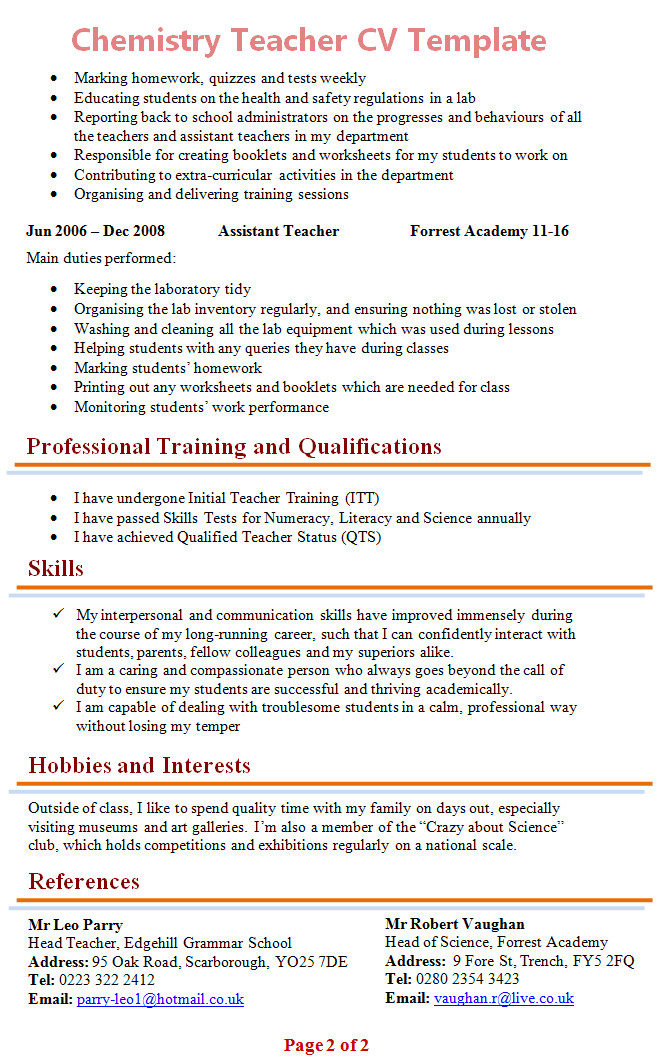 chemistry teacher cv template
