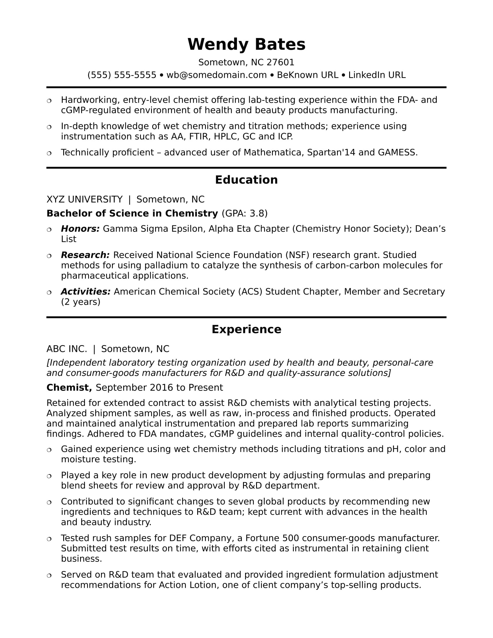 sample resume chemist entry level