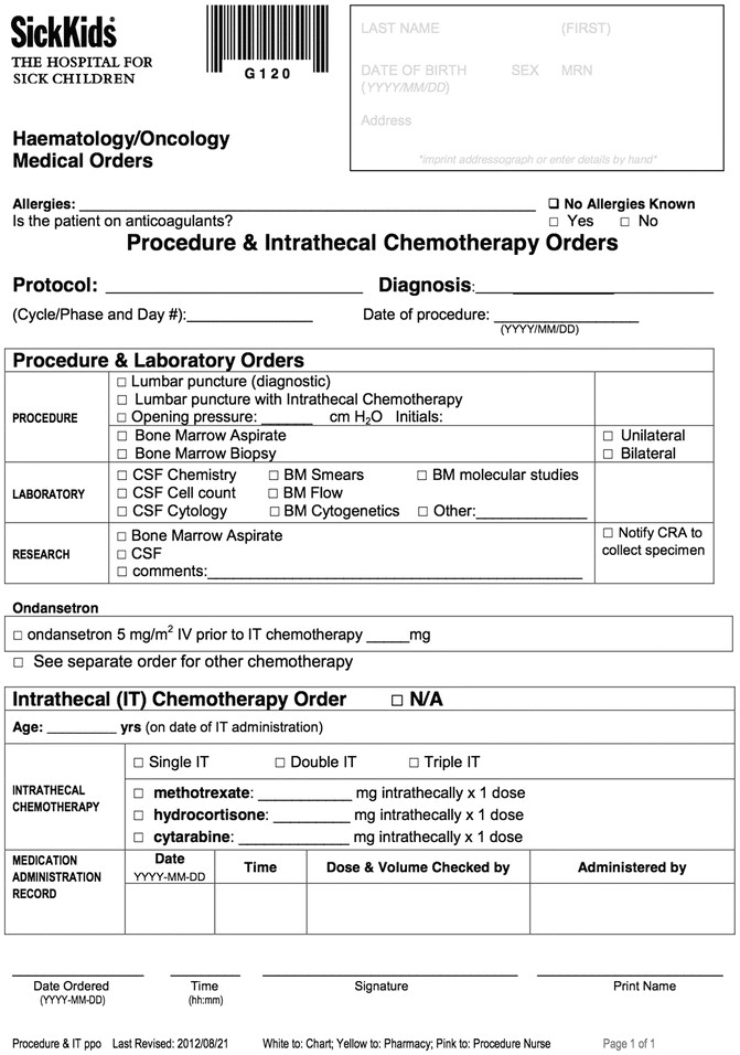 procedures in pediatric oncology practical guidelines