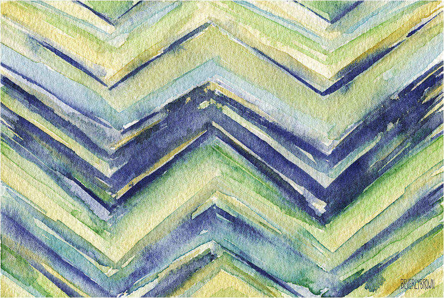abstract watercolor painting blue yellow green chevron pattern beverly brown prints