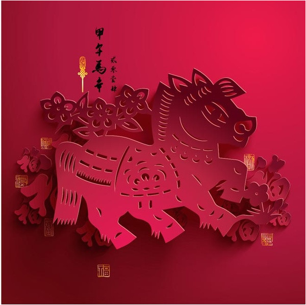 free vector paper cutting red horse chinese new year red template 568729