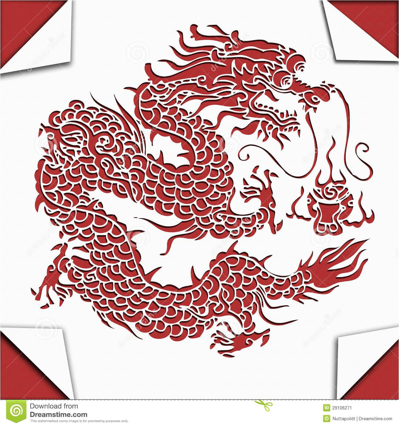 stock image chinese dragon paper cut art image29106271