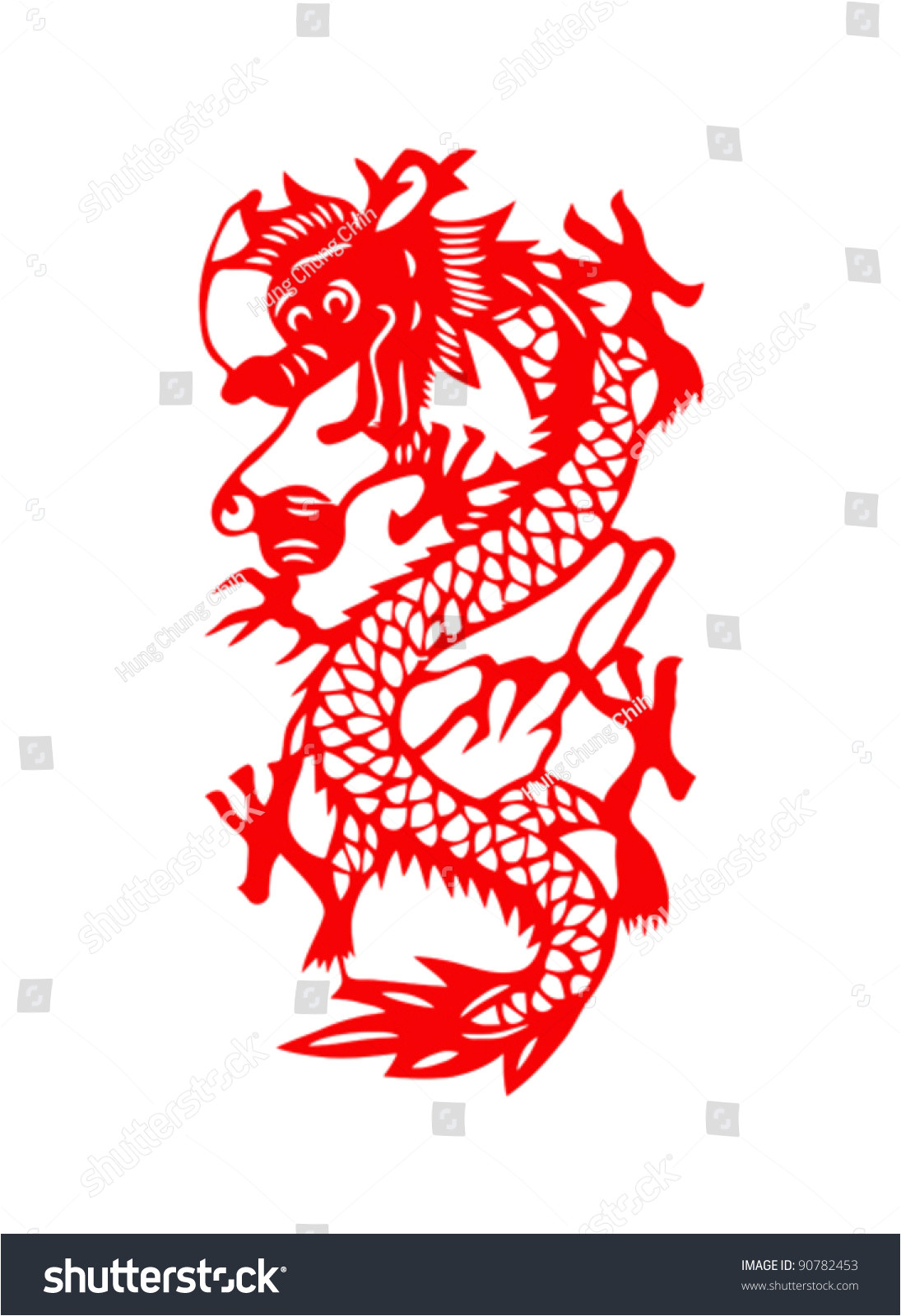 Chinese Paper Cutting Templates Dragon Dragon Paper Cut Chinese New Year Stock Vector 90782453