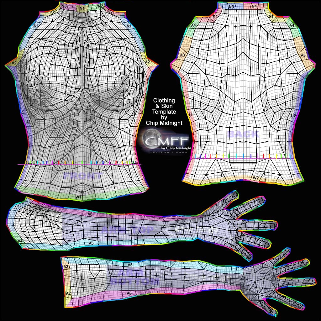 Chip Midnight Templates Designing Clothing for Sl Part 5 Various Uv Map Templates