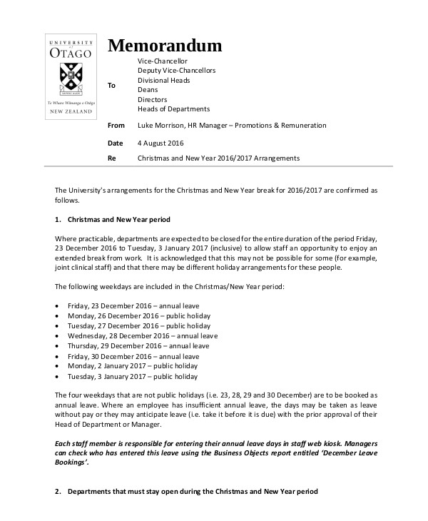 sample memo for holiday notice