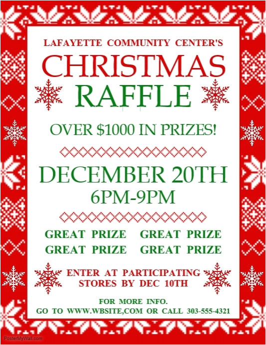 Christmas Raffle Poster Templates Christmas Raffle Template Postermywall