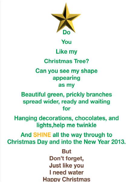 christmas tree shape poem
