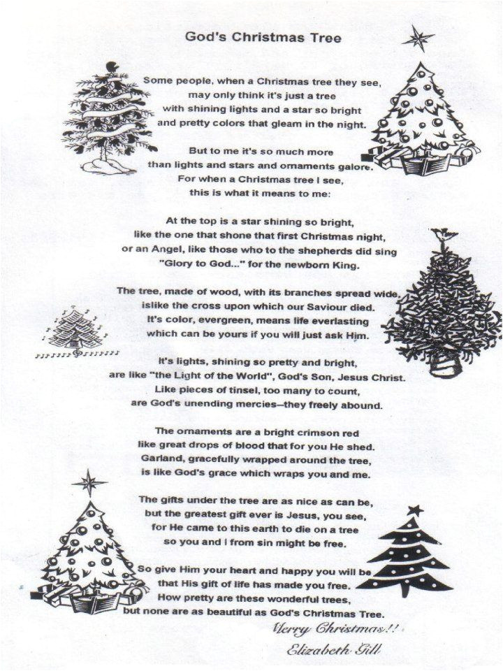 christmas tree shape poem template