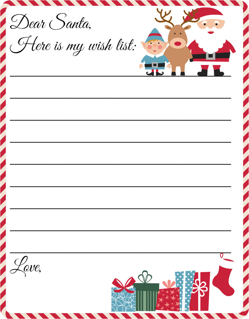 free printable christmas wish list letter