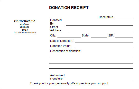 Church Receipts for Donations Template 16 Donation Receipt Template Samples Templates assistant