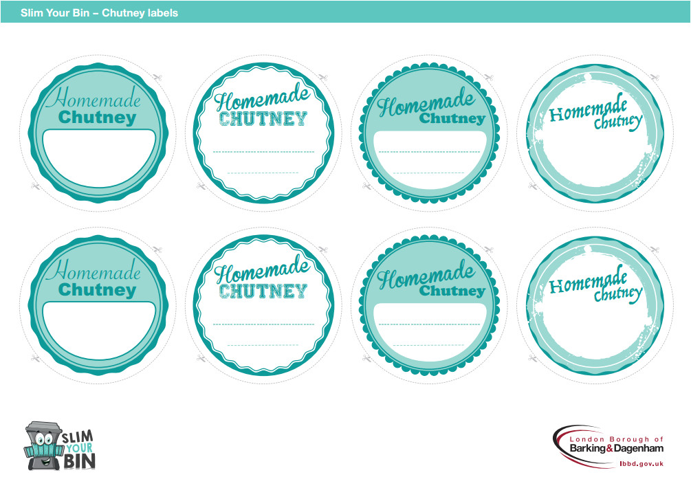 Chutney Label Templates Free Download Chutney Labels Slim Your Bin