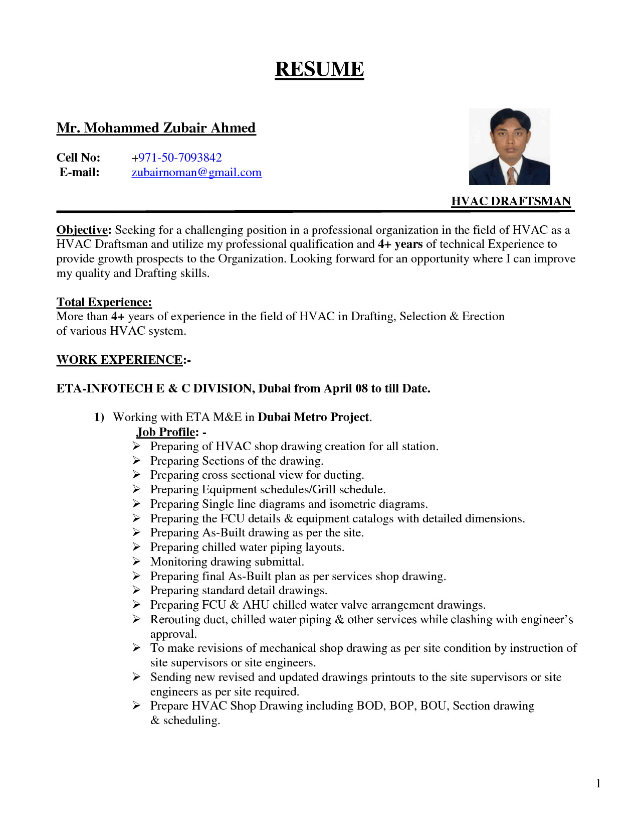 resume objective autocad drafter
