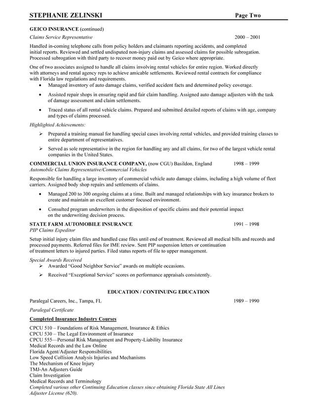 cover letter for insurance claims representative