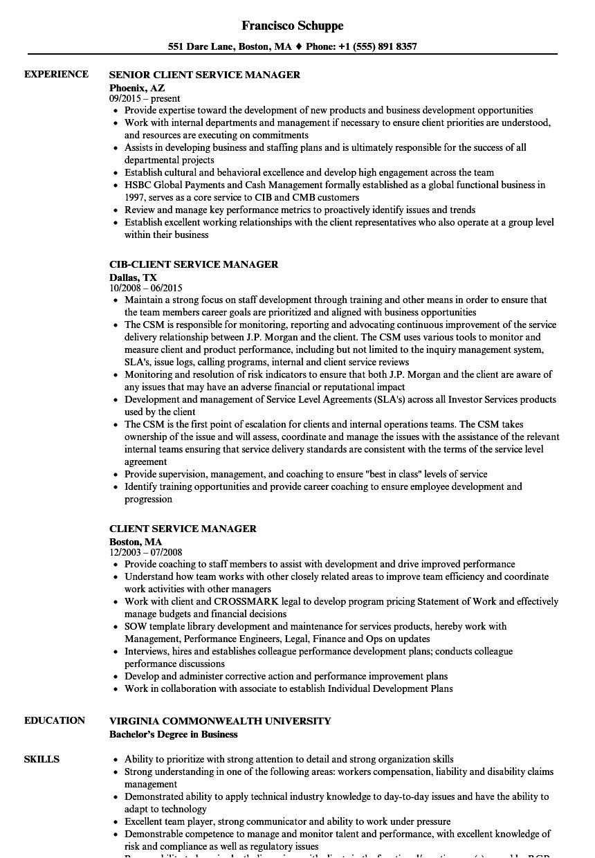client service manager resume sample